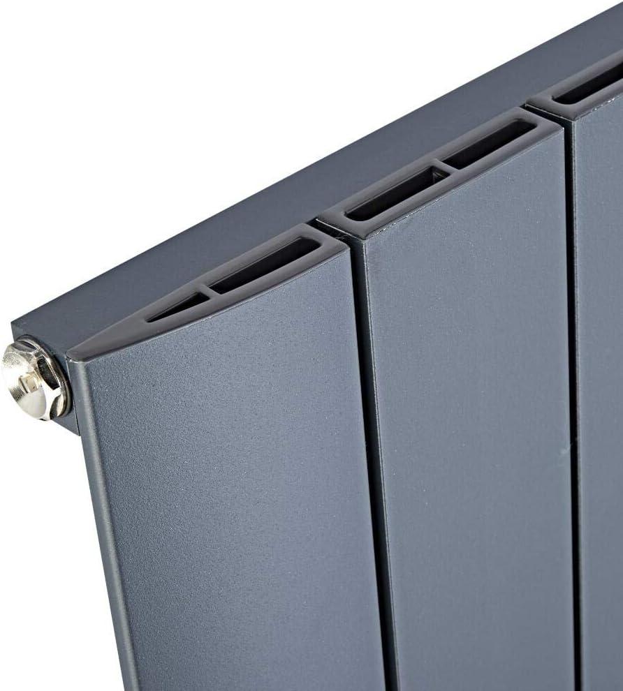 Hudson Reed Radiador Aurora de Diseño Vertical - Radiador de Aluminio con Acabado Antracita - 920W - 1600 x 280mm - Calefacción Moderna