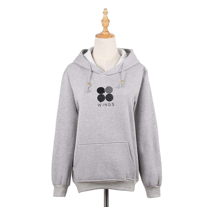 Lychee Kpop BTS WINGS Hoodie Long Sleeve Sweatshirt Round Neck Autumn Outerwear