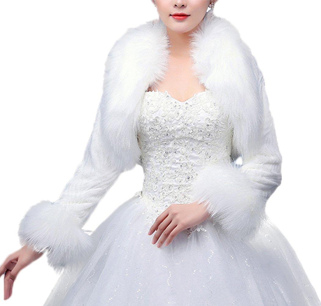 Women's Winter Warm Faux Fur Jacket Coat for Bridal Wedding PS13 White