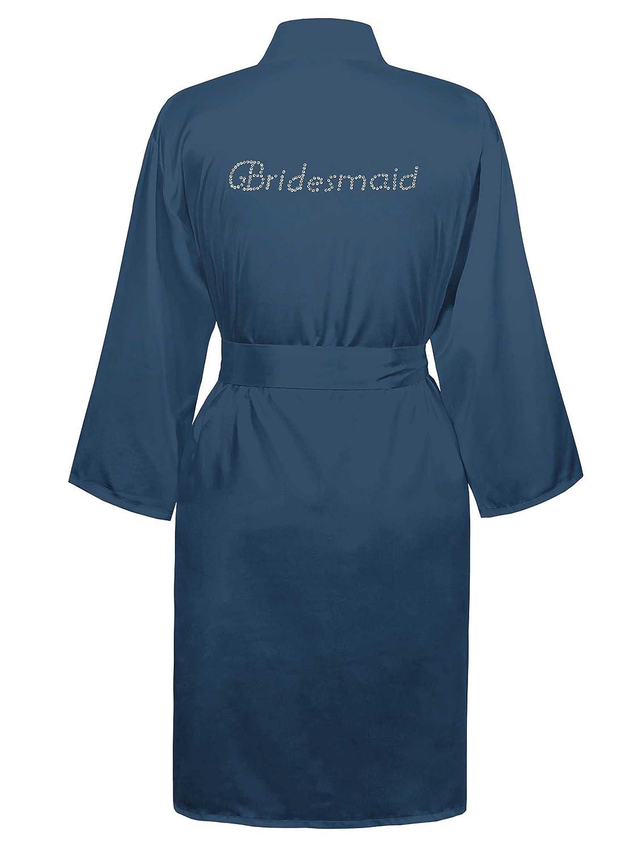 Navy Swhiteme Bridesmaid Robe with Rhinestones, 3 4 Sleeves