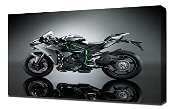 Amazon.com: Kawasaki Ninja H2 4K Qu - Canvas Art Print ...