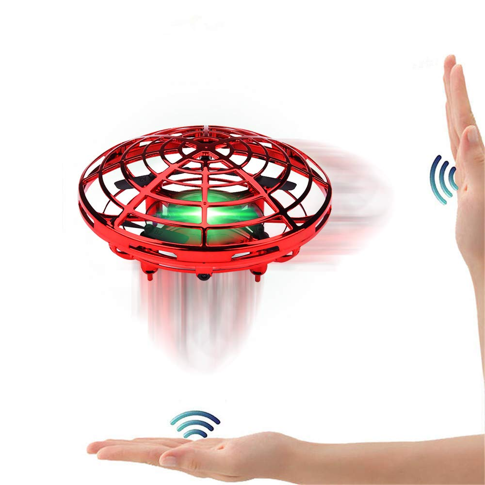 FUNCUBE Mini Jouet Volant UFO Drone Avion Interactive Infrarouge Induction Hélicoptère Capteurs Rotatif à 360 ° Contrôle Manuel avec Lumière LED Cadeau