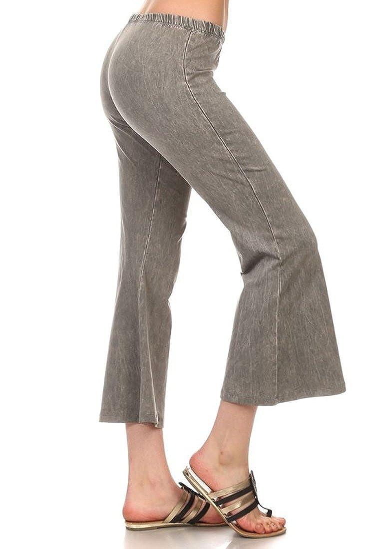 Denim Cropped Yoga Pants Taupe Gray