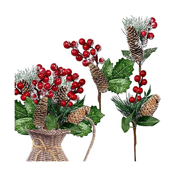 BANBERRY DESIGNS Red Berries Picks 9 Pieces-Assorted Snow Flocked Red Holly Berry Pine Cone Holiday Floral Sprays Decoration Flexible Stems for Christmas Crafts Party Festive Home Décor