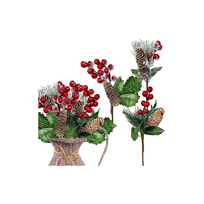 silk flower arrangements banberry designs red berries picks 9 pieces-assorted snow flocked red holly berry pine cone holiday floral sprays decoration flexible stems for christmas crafts party festive home décor