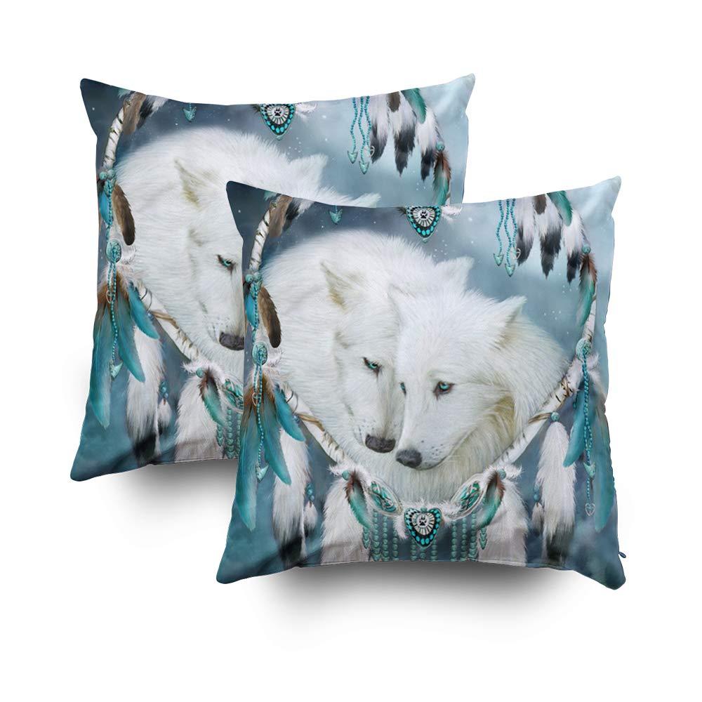 TOMWISH 2 PACKS Hidden Zippered Pillowcase heart a wolf art decorator 16X16Inch,Decorative Throw Custom Cotton Pillow Case Cushion Cover Home