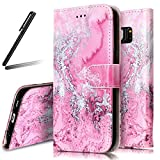 Galaxy S6 Stand Case,Samsung Galaxy S6 Wallet Case,Galaxy S6 PU Flip Case,SKYMARS Samsung Galaxy S6 Cover Marble Creative Design PU Leather Flip Kickstand Cards Slot Wallet Magnet Stand Case for Samsung Galaxy S6 Pink Sea Wave Marble
