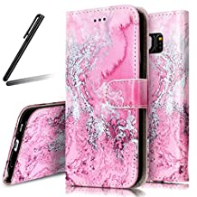 Galaxy S6 Edge Stand Case,Samsung Galaxy S6 Edge Wallet Case,Galaxy S6 Edge Flip Case,SKYMARS Samsung Galaxy S6 Edge Cover Marble Creative Design PU Leather Flip Kickstand Cards Slot Wallet Magnet Stand Case for Samsung Galaxy S6 Edge Pink Sea Wave Marble