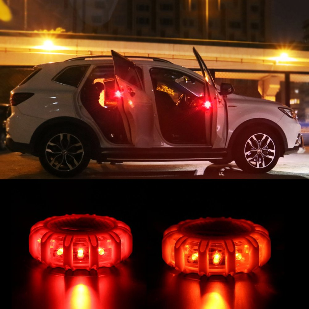 Super Bright Auto 15 LED Round Beacon Emergency Strobe Flashing Warning Lights Round Car Roof Police Lightbar Road Safety (Red)