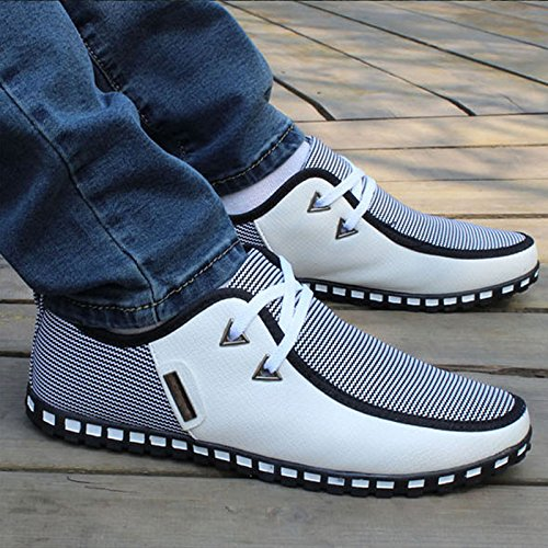 SPEEDEVE Men's Casual Loafers Flats Shoes Slip-On Moccasins Driving Shoes White OeQsE