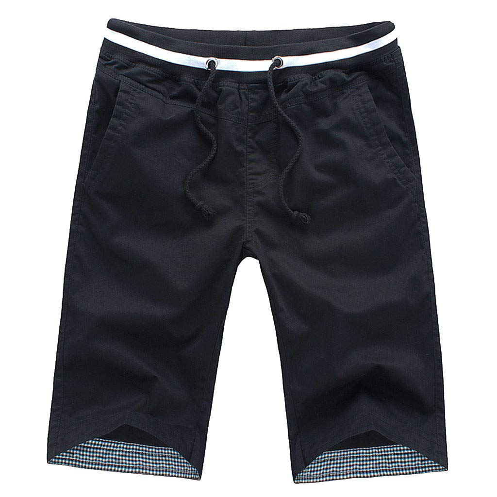 Sports Pants Gym Cargo Beach Shorts Mens Summer Fashion Pure Color Casual Loose Belt Drawstring Beach Shorts Pants