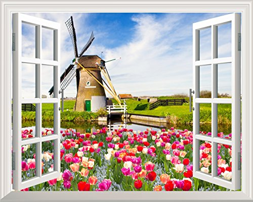 Removable Wall Sticker Wall Mural Windmill and Colorful Tulips out of the Open Window Wall Decor