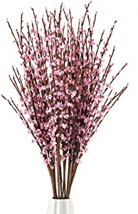 5Pcs 75CM Long Artificial Flower Winter Jasmine Folk Pip Berry Plant Dry Branches for Wedding Home Office Party Hotel Table Vase Christmas Decor - Light Pink