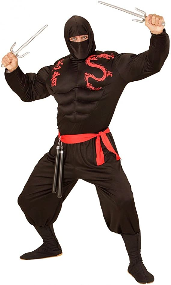 shoperama Disfraz Super Muscular Ninja para Hombre Guerrero ...