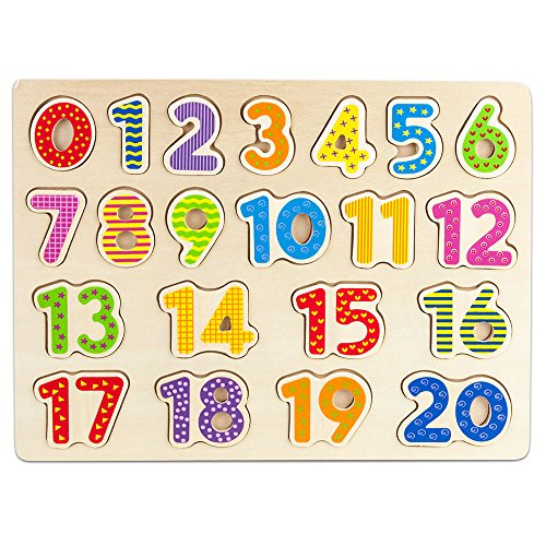 (Imagination Generation Professor Poplar's Wooden Numbers Puzzle Board - Learn to Count with Colorful Chunky Numbers)