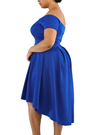 54885cb152 Lalagen Women s Plus Size Vintage Off Shoulder Cocktail Party Swing Dress  Buy One Get One