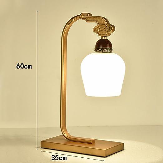 Hyzb Neoclásico Chino Cobre Lámpara de Mesa Dormitorio Lámparas de ...