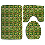Non Slip Absorbent Water Bathroom Rug Toilet Sets, US Forest Service Flag Bathroom Rugs Set Living Room Anti-Skid Pads Bath Mat + Contour + Toilet Lid Cover