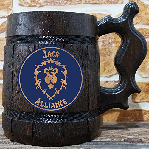 Alliance Beer Mug, Warcraft Gifts, World of Warcraft Wooden Beer Mug, Alliance Groomsmen Gift, WOW Beer Stein, Gamer Gift, WOW Tankard, Gift for Men, Gift for Him by WildMugs (Image #1)'