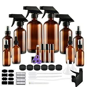 Glass Spray Bottle, Eternal Moment Amber Glass Spray Bottles Set for Aromatherapy Cleaning Products (16OZ, 8OZ, 4OZ, 2OZ Essential Oil Bottle, 2OZ Dropper Bottle) x 2, 10 ml Roller Bottle x 4