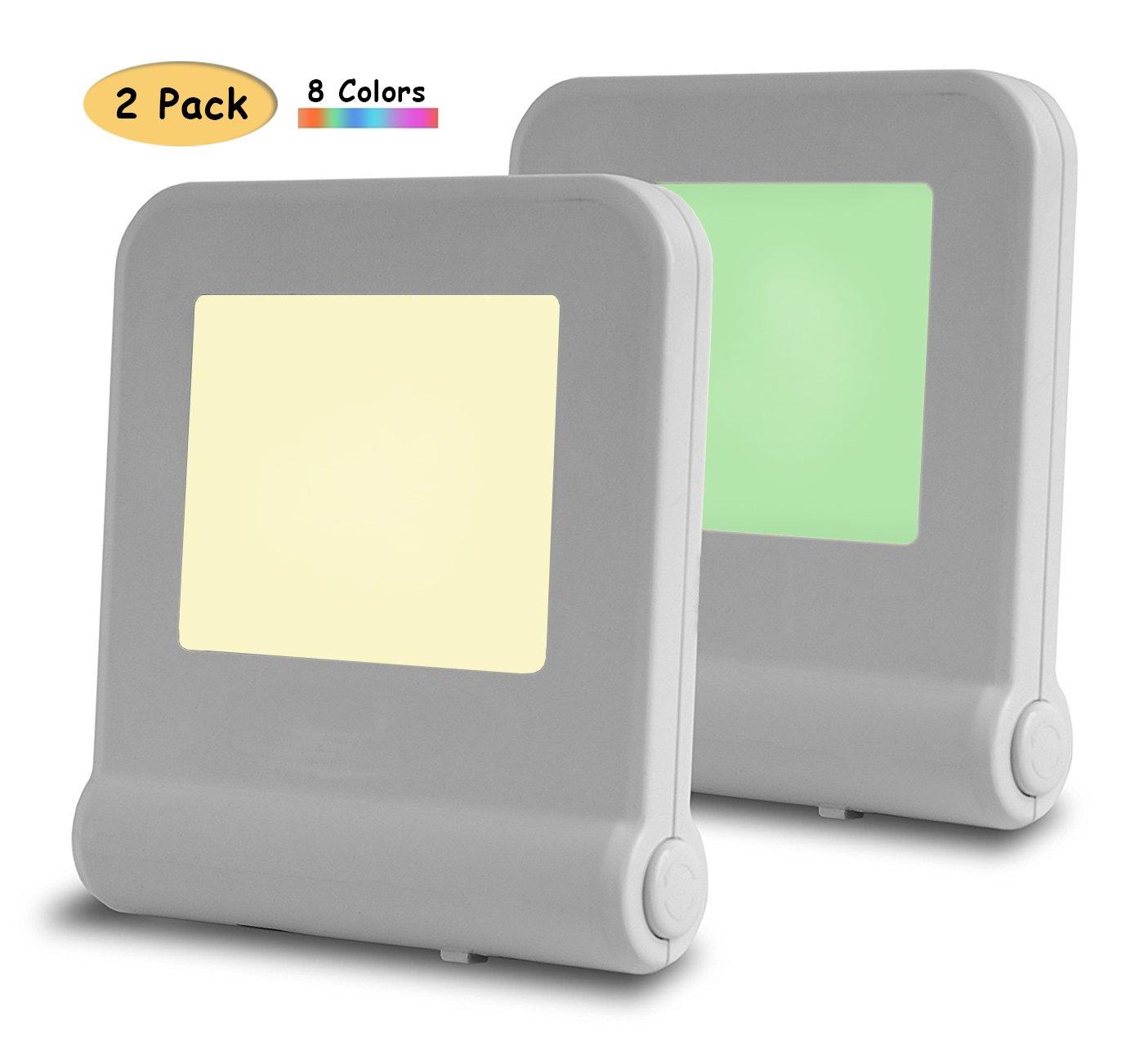 Plug In LED Night Light withスマートDusk to Dawnセンサー、8色ナイトランプ、エネルギーの効率的な夜ランプベッドルーム、ベビールーム、赤ちゃん保育園、キッチン、廊下、階段、バスルーム、廊下夜ライト B07DJ5V1MS 14961