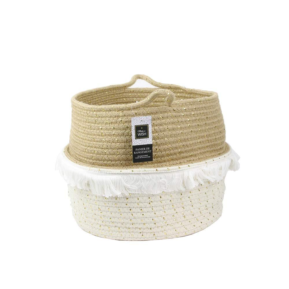 Coton L Doré CMP S Blanc Totally Addict RG6123 Paniers Rangement A Frange Textile Dor/é M