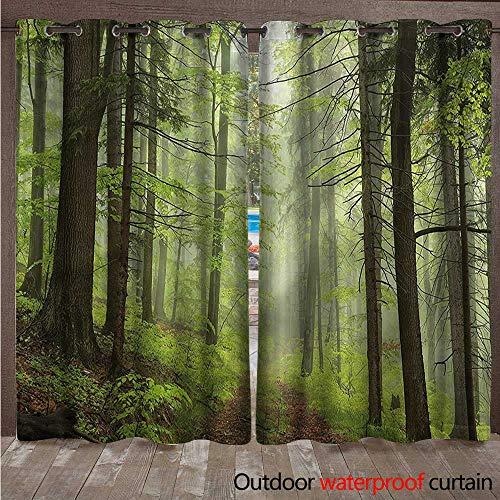 cobeDecor Outdoor Outdoor Ultraviolet Protective Curtains Trail Trough Foggy Alders W84 x L84(214cm x 214cm)