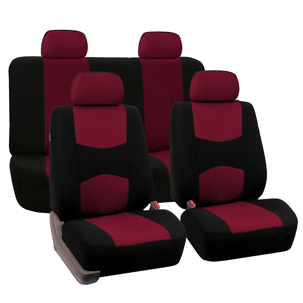 FH Group Universal Fit Full Set Flat Cloth Fabric Car Seat Cover, (Burgundy/Black) (FH-FB050114, Fit Most Car, Truck, Suv, or Van)