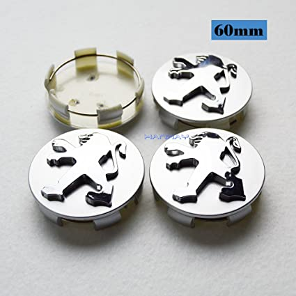 Amazon.com: Hanway 4pcs 60mm Car Styling Accessories PEUGEOT Emblem Badge Sticker Wheel Hub Caps Centre Cover PEUGEOT 206 207 307 301 308 408 508 3008: ...