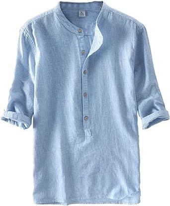 Camisa de Manga Enrollada para Hombre Blusa Rayas Tallas Grandes Celeste 3XL: Amazon.es: Ropa y accesorios
