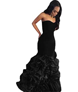 The Peachess Velvet Formal Evening Gown Mermaid Prom Dresses With Tiered Skirt