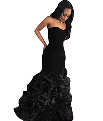 The Peachess Black Mermaid Prom Dresses Sweetheart Evening Gowns US2