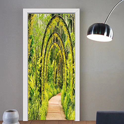 Carolyn J. Morin custom made 3d Door Wall Mural Wallpaper arch way of yellow orchid from singapore national orchid garden For Room Decor - Singapore Privacy Glass