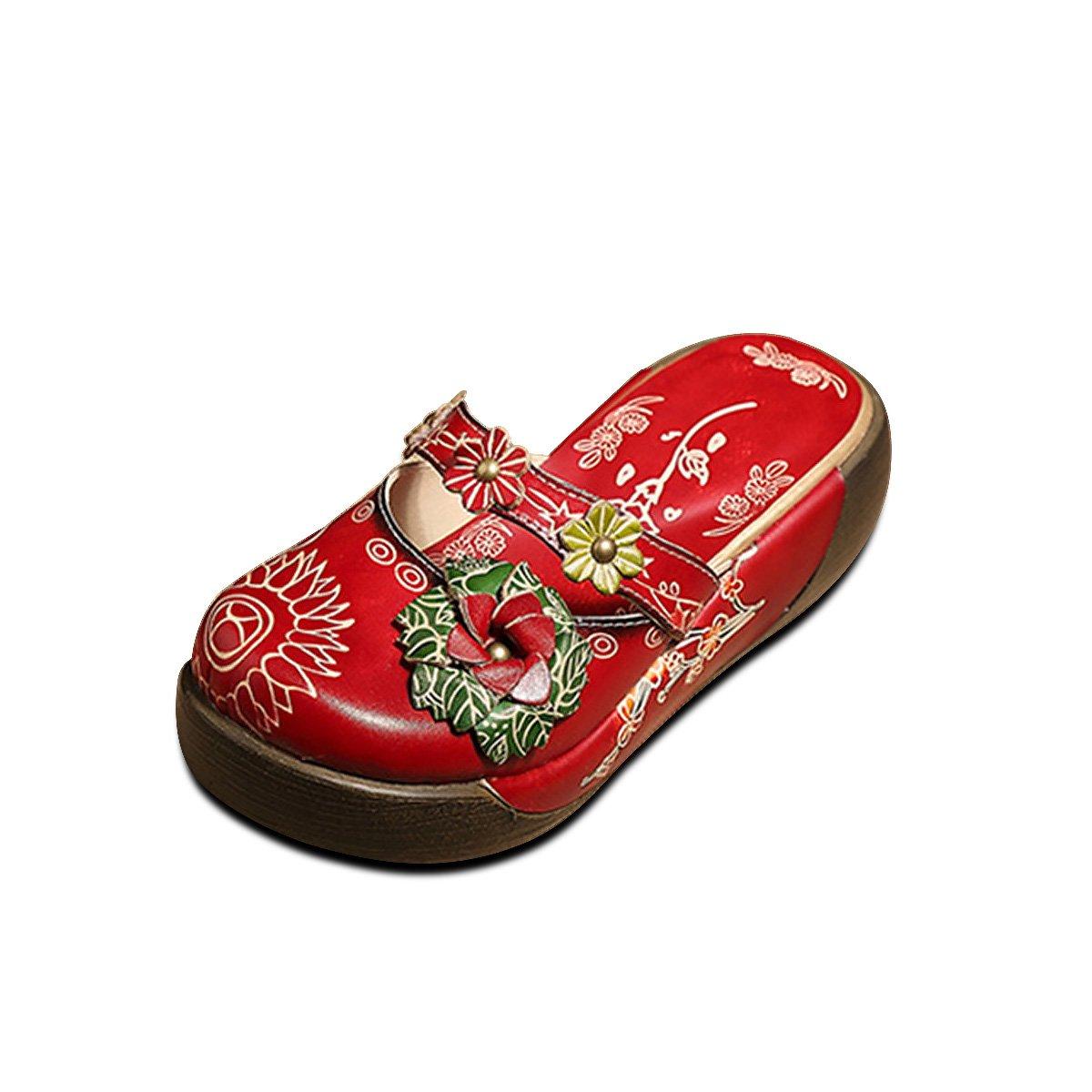 Socofy Zapatilla de Cuero para Mujer Mocasines de Mujer Sandalias Planas Zapatilla de Verano Oxford Zapatillas de Verano Vintage Zapatilla de Deporte de Colores Sin Respaldo 37 EU|Rojo