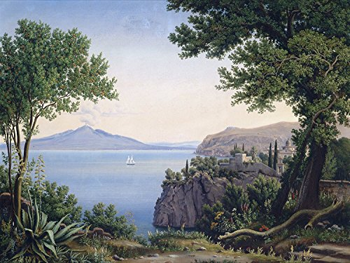 Seascape Volcano Mountain sea Ship Trees by Carl Ludwig Rundt Accent Tile Mural Kitchen Bathroom Wall Backsplash Behind Stove Range Sink Splashback One Tile 10