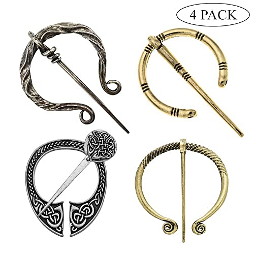 99fe97841 4 Pack Women Girls Brooches Pins, Decorative Medieval Vintage Viking Clasp  Pin, Scarf Cloak