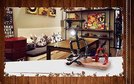 HCDMRE Lámparas Mesa Noche Robot - Lámpara Mesa decoración del hogar Creativo Vintage, Lámpara cabecera del ...