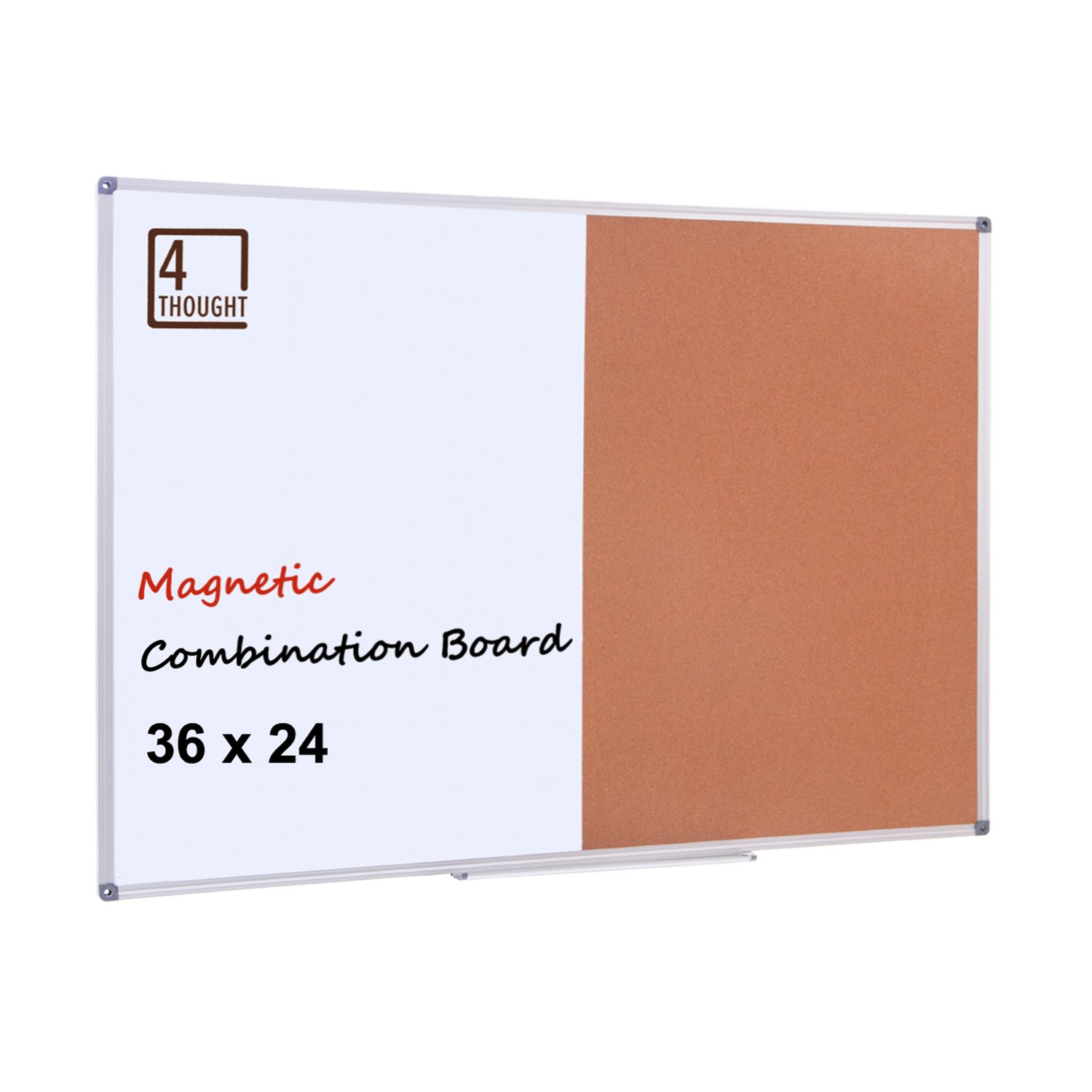 4 Thought Magnetic Dry Erase and Cork Bulletin Board Combination, 36'' X 24'' Magnetic Whiteboard & Cork Board Combo with Aluminum Frame, 10 Push Pins and Marker Tray Included