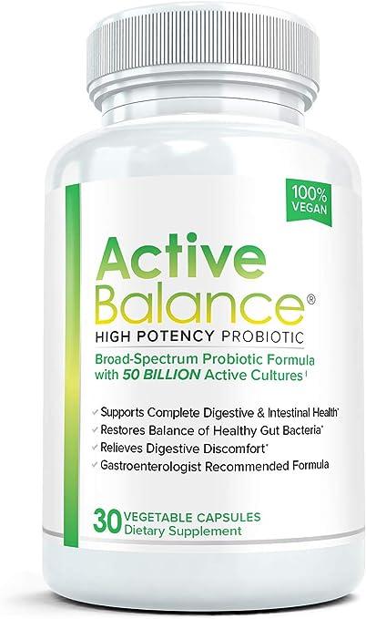 Amazon.com: Active Balance: Maximum Strength Acidophilus Probiotics with  Prebiotics | Digestive Enzymes with 50 Billion CFUs, Shelf Stable, Acid &  Bile Resistant for Optimal Gut Health, 30 Capsules: Health & Personal Care