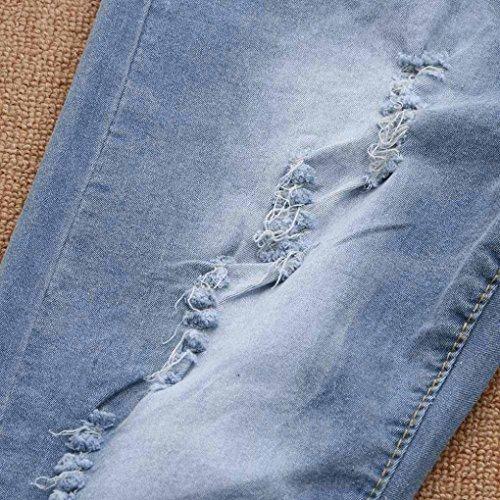 Legging Luckygirls Originaux Brodés Jeans Bleu Élastique Casual Pants Mode Floral 3xl Taille Women Haute s Slim ~ Ripped rxr7n