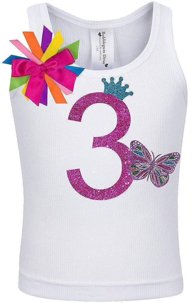 Bubblegum Divas Little Girls 3rd Birthday Rainbow Monarch Butterfly Shirt