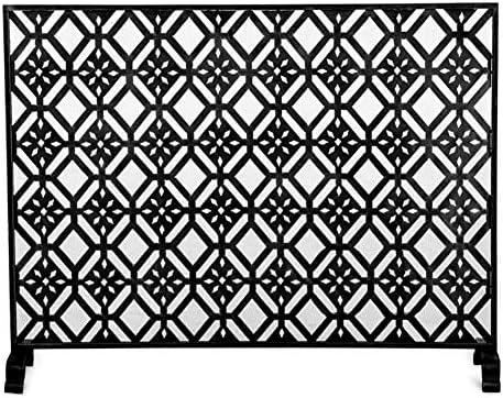 YXX-暖炉スクリーン メタルメッシュ、リビングルームの安全性とインテリアのためのヘビーデューティファイアスパークガード、39.3「x8.6」を持つ単一のパネル暖炉スクリーン (Color : Black)