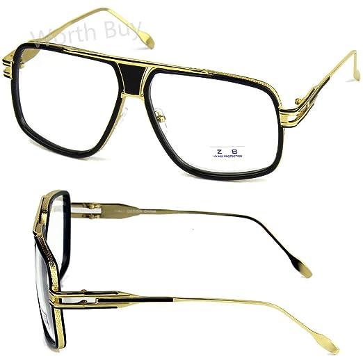 bd77fd6d574 Amazon.com  DMC Retro Vintage Gazelle Clear Lens Frame Eyeglasses Fashion  Oversized Hip Hop  Clothing