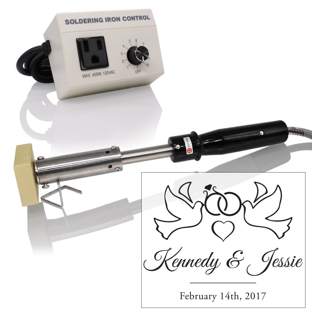Custom Electric Branding Iron with Wedding Doves and Rings Design Includes Heating Tool and Temp Control Unit