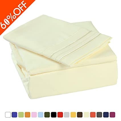 Merous Microfiber Bed Sheets Set   100% Brushed 1800 Soft Hypoallergenic  Fitted Sheet 3 Piece