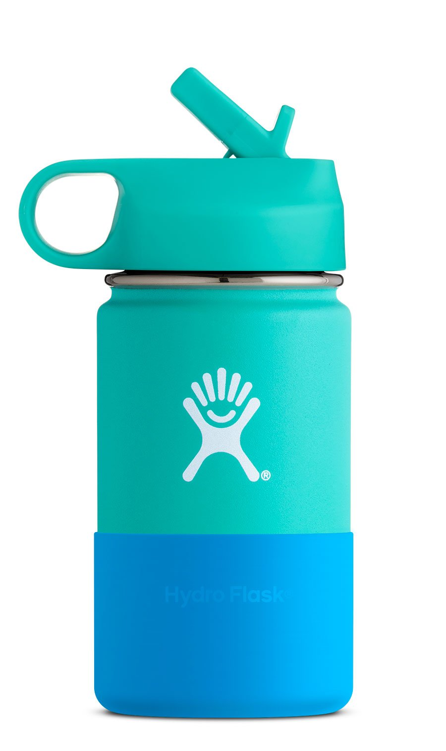Wide Mouth 12 oz Kids Vacuum Insulated Stainless Steel Sippy Cup Water Bottle with BPA Free Straw Lid and Protective Silicone Flex Boot, Mint