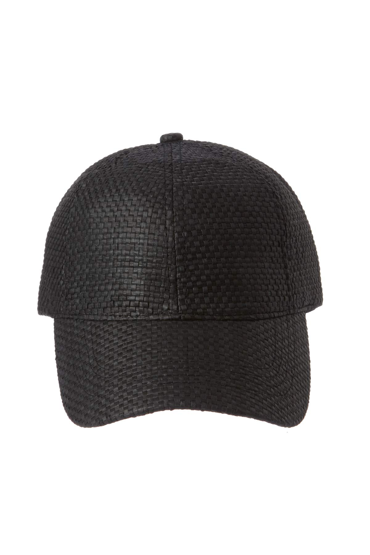 Wyeth Hats Black Woven Straw Baseball Cap Black One