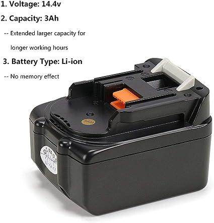 per Makita BL1430 BL1415 195444-8 BL1415N Batteria di ricambio agli ioni di litio 14,4 V 194065-3 196875-4 2 pezzi BL1440 Energup BL1430 194558-0 196388-5 3,0 Ah