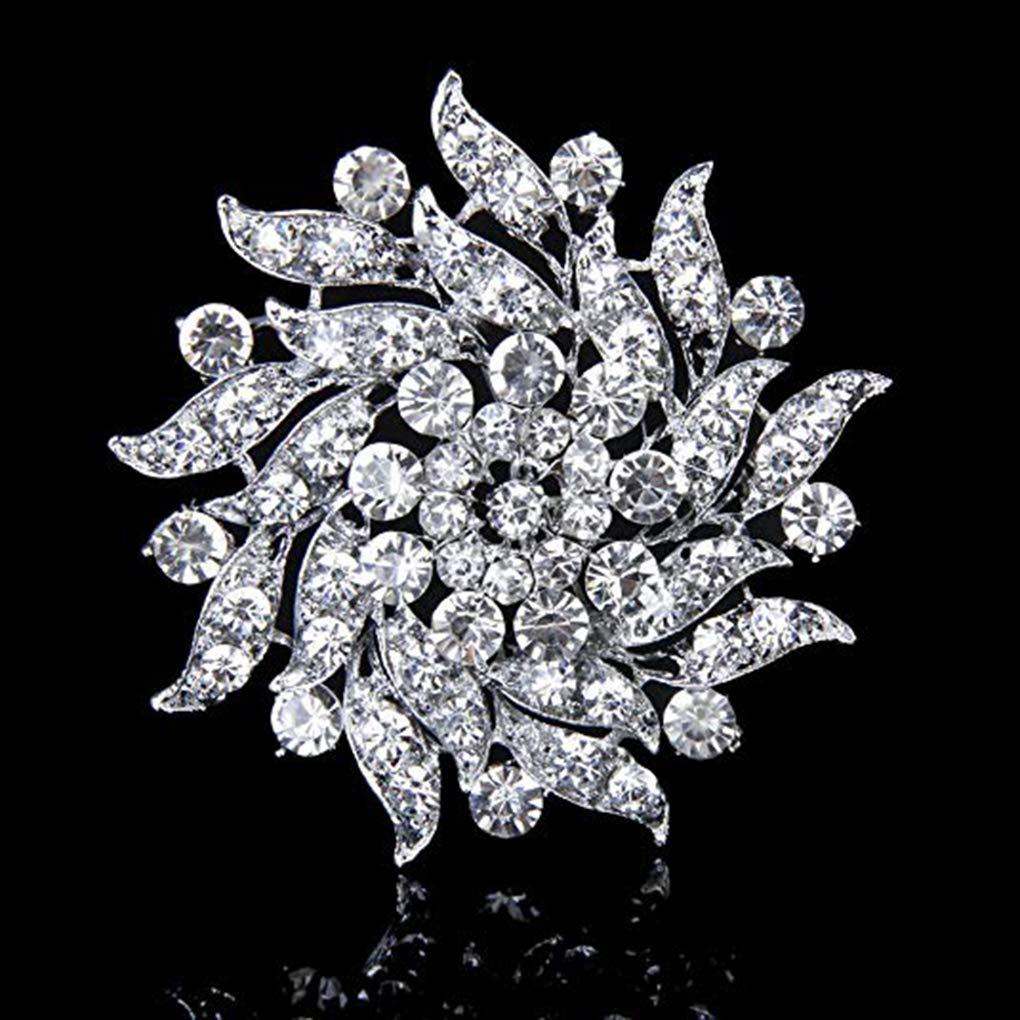 BoburyL Femmes Simul/é Cristal Broche Clair Couronne de Fleurs Broche Corsage en Alliage de mari/ée Mariage Bijoux