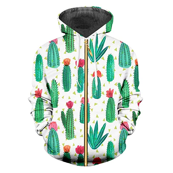 Sudaderas Capucha Hombres/Mujeres Hip Hop Mens Leisure Zipper Jacket Print Cactu 3D Sudadera Capucha Sudadera Capucha Slim Fit: Amazon.es: Ropa y accesorios